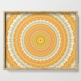 Marigold Orange Mandala Design Serving Tray