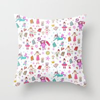 girl power Throw Pillows featuring Girl Power by Art Tree Designs