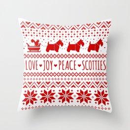 Love Joy Peace Scotties | Scottish Terriers Christmas Holiday Pattern Throw Pillow