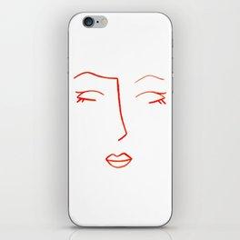 Orange Sleeping Beauty Minimalist Abstract Womankind Minimal Line Drawing Womans Face iPhone Skin