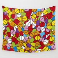 pills Wall Tapestries featuring Lots of Pills by Thisisnotme