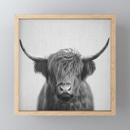 Highland Cow - Black & White Framed Mini Art Print