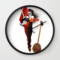 harley quinn Wall Clocks featuring Harley Quinn by nachodraws