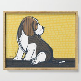 Beagle Puppy Portait by Friztin Serving Tray