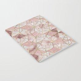 Modern rose gold geometric star flower pattern Notebook