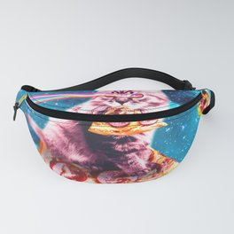 Space Cat Eating Pizza - Rainbow Laser Eyes, Burrito Fanny Pack