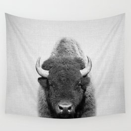 Buffalo - Black & White Wall Tapestry