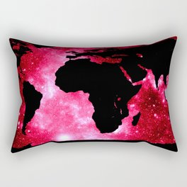 World Map : Red Hot Pink Galaxy Rectangular Pillow