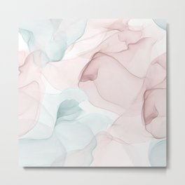 Blush and Blue Flowing Abstract Painting Metal Print