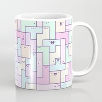 tetris Mugs featuring Kawaii Tetris by KiraKiraDoodles