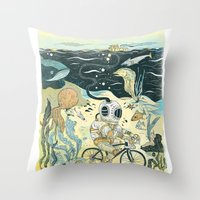 cycling Throw Pillows featuring Cycling in the Deep by Dushan Milic