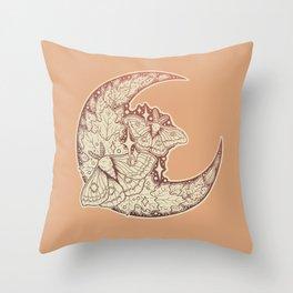 Moth & Moon   Autumn Terra Cotta Palette   Nature Art Throw Pillow