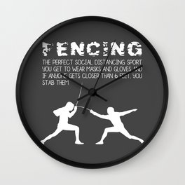 Funny Fencing Definition Social Distancing Sports Wall Clock