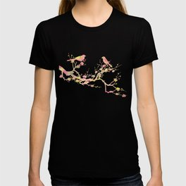Love Birds on Branch Vintage Floral Shabby Chic Pink Yellow Mint T-shirt