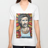 nicolas cage V-neck T-shirts featuring Raising Arizona Nicolas Cage by Portraits on the Periphery