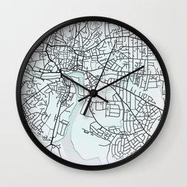 Ipswich, England, White, City, Map Wall Clock