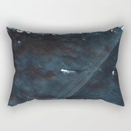 Dark slate gray blurred watercolor pattern Rectangular Pillow