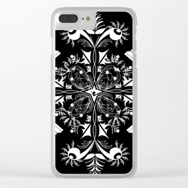 White Chess Inspired Queenly Motif Clear iPhone Case