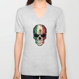 Dark Skull with Flag of Mexico Unisex V-Neck