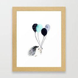 Hedgehog With Balloons Framed Art Print