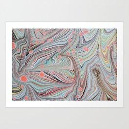 Marbled Multi-color Organic Pattern Art Print