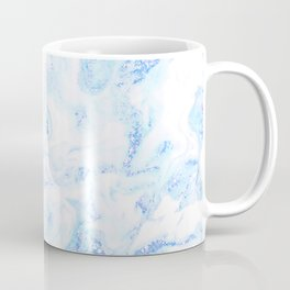 White Marble with Pastel Blue Purple Teal Glitter Coffee Mug