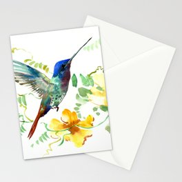 Blue Hummingbird and Yellow Flowers Stationery Cards