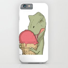 T-Rex licks the ice cream in the waffle  iPhone Case