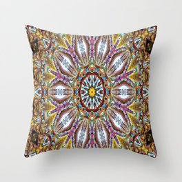 Lovely Healing Mandala  in Brilliant Colors: Black, Brown, Gold, Mauve, and Blue Throw Pillow