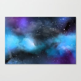 Navy Blue & Purple Glitter Cosmo Watercolor Galaxy Painting Canvas Print