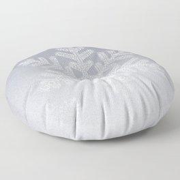 Typographic Snowflake Greetings - Silver Grey Floor Pillow