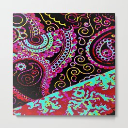 paisley and damask multicolored Metal Print