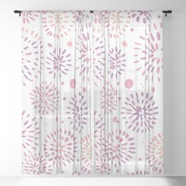 Abstract watercolor sparkles – pastel pink and ultra violet Sheer Curtain