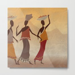 Women returning from the Market Metal Print