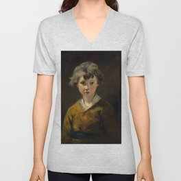 """Sir Joshua Reynolds """"Edwin: Study of a young boy, half-length, in a brown coat"""" Unisex V-Neck"""