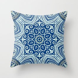 Blue and Gold  flowers pattern Throw Pillow