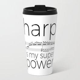 Harp is my super power (white) Travel Mug