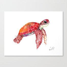 Turtle Children Animal design Red, pink Orange cute turtle Canvas Print