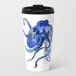 Octopus Design Blue Navy Blue Beach Travel Mug