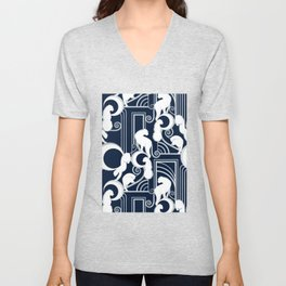 Deco Gatsby Panthers // navy and silver Unisex V-Neck