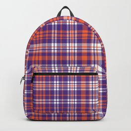 Varsity plaid purple orange and white clemson sports college football universities Backpack
