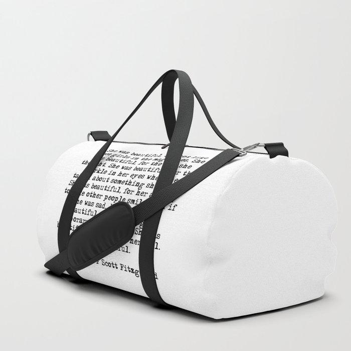She was beautiful - Fitzgerald quote Duffle Bag