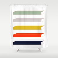 parks and rec Shower Curtains featuring Rec Stripes by After Hours