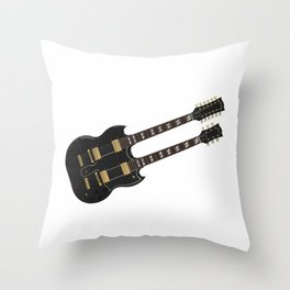 Double Neck Guitar Throw Pillow