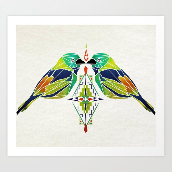 aztec birds Art Print