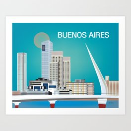 Buenos Aires, Argentina - Skyline Illustration by Loose Petals Art Print
