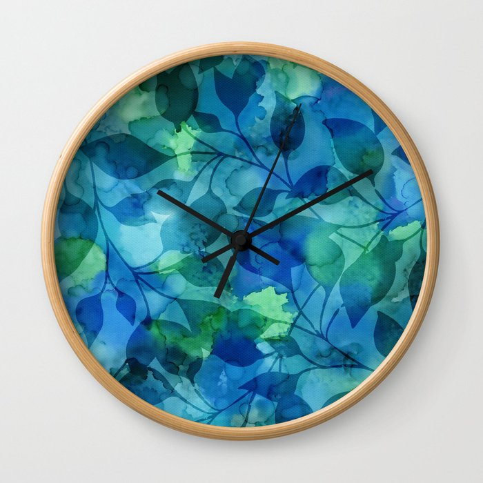 Alcohol Ink Leaves Wall Clock