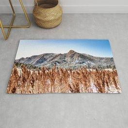 Flatirons Boulder // Colorado Mountain Scenery Green Red Blue Landscape Photograph Rug