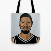 tim shumate Tote Bags featuring Tim Duncan by Will Wild