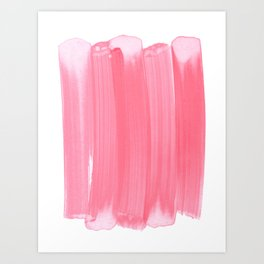 Coral Pink Minimalist Abstract Brushstrokes Art Print